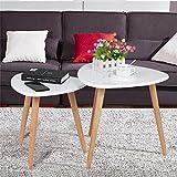 Yaheetech 2er Set Beistelltisch weiß Couchtisch mit 3-Beinen Wohnzimmertisch Kaffeetisch Satztisch praktisch und skandinavisch Pflanzenhocker Nachttisch