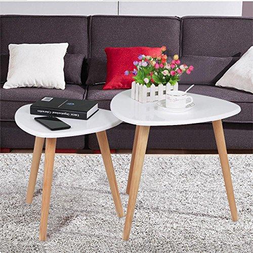 Yaheetech 2 x Beistelltisch Couchtisch Kaffeetisch Sofatisch Satztisch Wohnzimmertisch aus Holz Retro-Design Runder Tisch