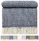 STTS International Wohndecke Wolldecke 140 x 190 cm Tagesdecke Kuscheldecke sehr weiches Plaid Roma Blau-Weiß, Wolle