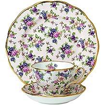 100años de Royal Albert 1940Inglés Chintz–Taza y platillo (y 20cm plato, porcelana, blanco, Juego de 3