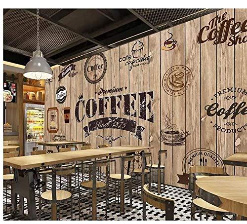 Fototapete Holz Schattierung Retro Coffee Shop Hintergrund Restaurant Fototapete Tv Hintergrund Wand 3D Wallpaper 300 Cm × 200 Cm