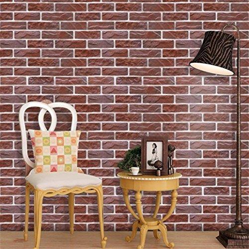 Prevently Wandaufkleber 3D Wall Paper Brick Stein Effekt selbstklebende Room Decor Mosaik-Tapete der nahtlosen Simulation 3D Wohnkultur Wandbild Decals Schlafzimmer Wohnzimmer Kinderzimmer (Als Bild)