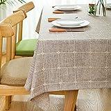 Toile de maison,Nappe vintage,Tissu coton lin.Rural] Campagne moderne Treillis Bord Table de thé Propre Nappe oblongue.Plusieurs couleurs.Brown-brun 85x85cm(33x33inch)