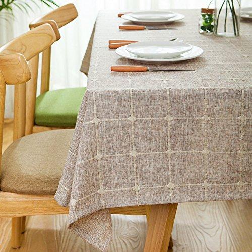 Maoge Home tischdecke,Vintage tischdecke,Stoff Baumwolle leinen.lÄndlichen Moderne Landschaft Lattice Edge teetisch sauber längliche tischdecke.mehrere Farben.Brown-braun 130x200cm(51x79inch)
