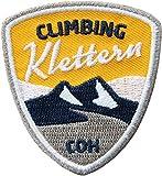 2 x Climbing Abzeichen gestickt 55 x 60 mm/Klettern Bergsteigen Bouldern Klettersteig Indoor/Aufnäher Aufbügler Flicken Sticker Patch für Kleidung Ausrüstung Rucksack/Kletterführer Buch Karte