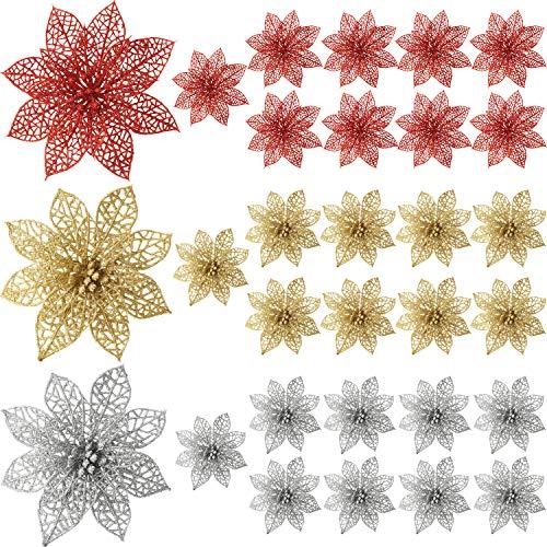 Sumind 30 pezzi glitter poinsezia fiori albero di natale poinsezia ornamenti vacanze decorazioni floreali (rosso, oro, argenteo)