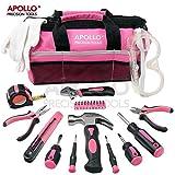 Apollo Kit d'outils maison rose 23pièces, y compris lunettes de sécurité et gants- dans un joli sac de rangement souple
