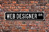 Aersing Stree Deko Schilder Web-Designer Geschenk Schild Computer Internet Website-Designer Metall Wandschild Funny 10x 45cm