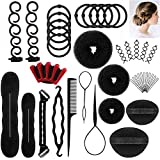Halicer 25pcs Haare Frisuren Set,Haar Zubehör styling set,Hair Styling Accessories Kit Set Haar Styling Werkzeug, Mädchen Magic Haar Clip Styling Pads Schaum Hair Styling tools für DIY …