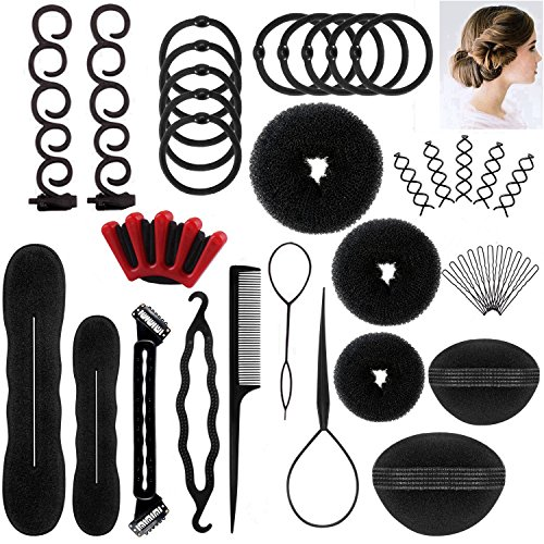 Halicer 25pcs Haare Frisuren Set,Haar Zubehör styling set,Hair Styling Accessories Kit Set Haar Styling Werkzeug, Mädchen Magic Haar Clip Styling Pads Schaum Hair...