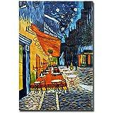 Raybre Art® Réplica Terraza Café en Noche de Van Gogh Cuadros al óleo 100% Pintado a Mano al óleo Lienzo (60*90cm), Sin marco