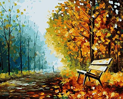 Kit per dipinto a olio su tela fai da te, per adulti e bambini, da colorare seguendo i numeri, 40,64 x 50,8 cm, Park, Park
