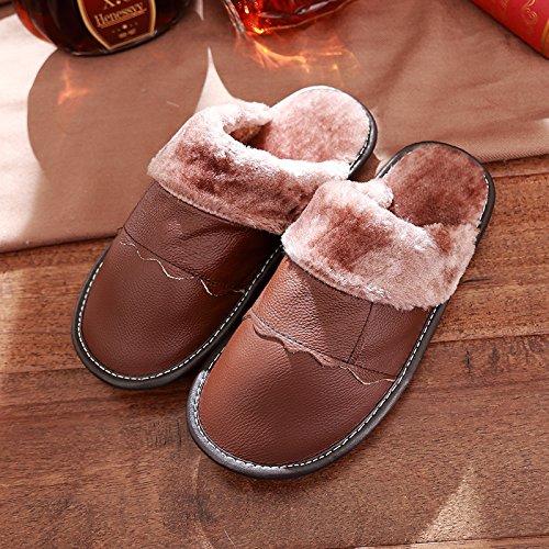 DogHaccd pantofole,Gli uomini e le donne Autunno Inverno pantofole di cotone caldo inverno spesse pantofole di peluche coppie scarpe home Brown1