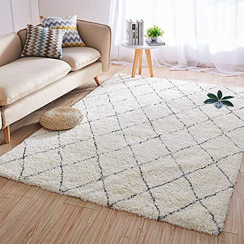 Aishankra Marruecos Blanco Y Negro Plaid Carpet Home