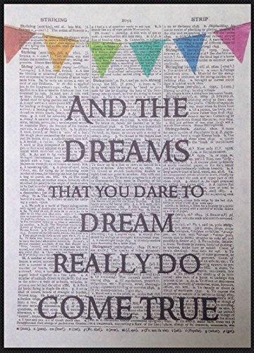 Parksmoonprints Somewhere Over The Rainbow Liedtext Vintage Wörterbuch Seite Art Wand dekotarion Wimpelkette Musik Lyric Lied Quirky (Herz Von Der Oz Zauberer)