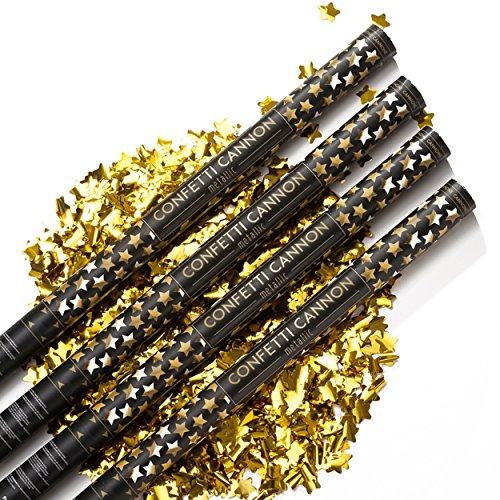 PartyMarty 4X XXL Konfetti-Shooter Gold Sterne 80 cm - Party Popper Konfettikanone Konfettishooter Streamer - für Hochzeit, Party, Geburtstag, Jubiläum & Co GmbH®