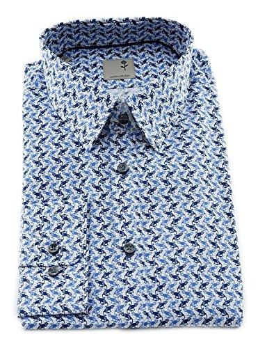 Seidensticker Herren Langarm Hemd Schwarze Rose Slim Fit Modern Kent Print  Blau Weiß Strukturiert mit 5cb25ca93b