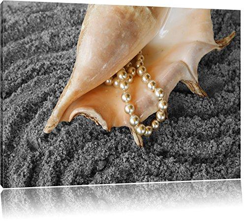 Shell con collana di perle sulla sabbia nero / bianco Formato: 120x80 su tela, enorme Immagini XXL completamente Pagina con la barella, stampe d'arte su murale con telaio, più economico di pittura o pittura ad olio, nessun manifesto o