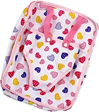 NF&E Pink Heart Printed Baby Doll Carrier Backpack for 18'' American Girl Doll Girls Gift