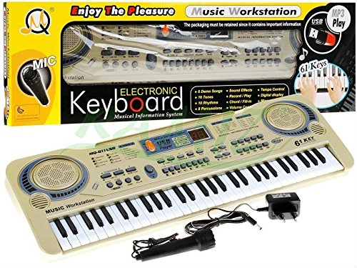 KEYBOARD MQ-811USB mit Aufnahme-Funktion und Mikrofon, USB - 15 Sounds und 10 Rythmen, Lautsprecher, Lautstärkeregler, 61 Tasten, LCD-Anzeige - Electric Piano