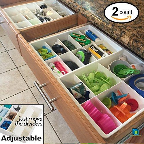 Divisori per Cassetti Regolabili per Archiviazione e Organizzazione dei Cassetti di Utensili da Cucina della Uncluttered Designs (2 Pezzi)