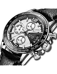 Watches for Men Leather Analog Quartz Watch Men Waterproof Date Sport Wristwatch Men's Wrist Strap Luxury Brand LIGE Business Dress Clock