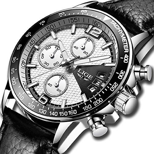 Orologi uomo,lige cronografo impermeabile sportivo militari orologi da polso gents cinturino in pelle quadrante bianco moda casual analogico al quarzo orologio argento bianco