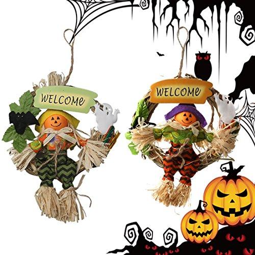 A-szcxtop Halloween Knauf Vogelscheuche Specter Spooky Smiling Pumpkin Türklopfer Kleiderbügel Ghost Anhänger zufällige Lieferung