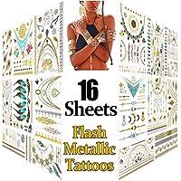 Metálico Temporal Tatuajes, 16 hojas Oro Destello Tatuajes, Más de 200 diseños Prima Falso Joyería Tatuaje Pegatinas como Collar, Esposas, Anillos y Alheña para Mujer Chicas Adolescentes