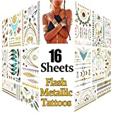 Best Los tatuajes de oro - Metálico Temporal Tatuajes, 16 hojas Oro Destello Tatuajes Review
