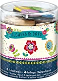 Moses 26110 Kleine Stempelbox Flowers & Dots mit Stempelkissen