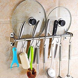 Acxeon Küchenbesteck Küchenhelfer Set aus SUS304 Edelstahl Hängeleiste Küchenutensilien Kochzubehör Set 8 Haken - 50cm Doppel Schiene (50cm Doppel Schiene)