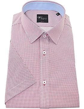 Venti Herrenhemd bodyfit rotes Hemd mit Druck halbarm Kent Kragen ohne Tasche Size 41