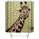 HUIYIYANG Benutzerdefinierte Duschvorhang, Giraffe und Gelber Waterdrop Hintergrund des Design 3D Wasserdichter Anti Mehltau Gewebe Polyester Duschvorhang für Badezimmer 66