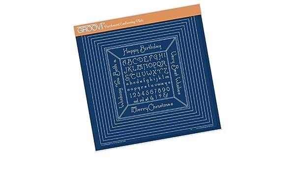/verschachtelte Quadrate und kleiner Alphabet-Rahmen Groovi A4/quadratische Pr/ägeplatte