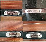 Hundehalsband mit Name Gravur Personalisierte Hunde Haustier Echtes Leder Halsband Haustiername und Telefonnummer Marke Schwarz - 2