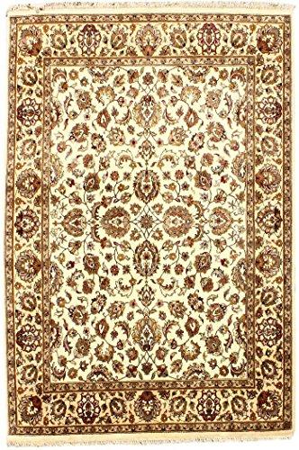 Arts of India Handgefertigt Blumen Design Beige Wolle indisch Handgeknüpft Jaipur/Orientalisch 8X10 Bereich Teppich - Teppich Bereich 8x10