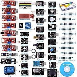 Arduino Kit, Arduino Uno Raspberry Pi 3 Mega 2560 R3, 37 en 1 Módulo Sensor Proyectos para Arduino Starter Kit K5 (Updated Version)