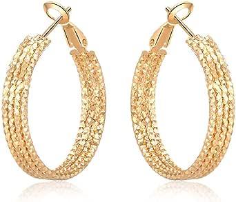 Yumay-Orecchini a cerchio in oro 9 carati con taglio a diamante, per donne e ragazze (30 mm)