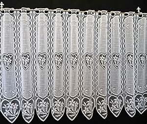 Rideaux brise-bise Enzian c?ur 45 cm de haut | Vous pouvez choisir la largeur des rideaux par paliers de 11 cm | Colour: blanc | Rideaux cuisine