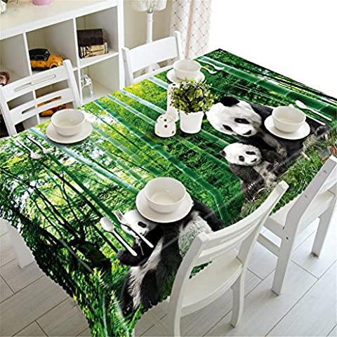 GFYWZ Tablecloth 3D Panda Green bamboo Digital printing Polyester Rectangular Dust-proof Bedside cabinet cloth Kitchen Dinner Table Top Cover Available In Various Sizes , n