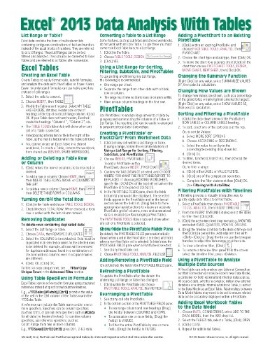 Microsoft Excel 2013 Data Analysis with Tables Quick Reference Guide (Cheat Sheet of Instructions, Tips & Shortcuts - Laminated - Excel 2013 Sheet Cheat