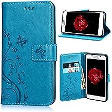 Housse Samsung A3 (2016), SpiritSun Etui en PU Cuir Portefeuille Coque pour Samsung Galaxy A3 (2016) A310 Fleur et Papillon Modèle Case avec Fonction Support Stand + Stylet et Bouchon Anti-Poussière - Bleu