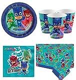 Fancy Me Garçons Filles PJ Masques Fête d'anniversaire Célébration Papier Vaisselle Décorations Accessoires Assiettes Tasses Serviettes Nappe (Kit de fête)