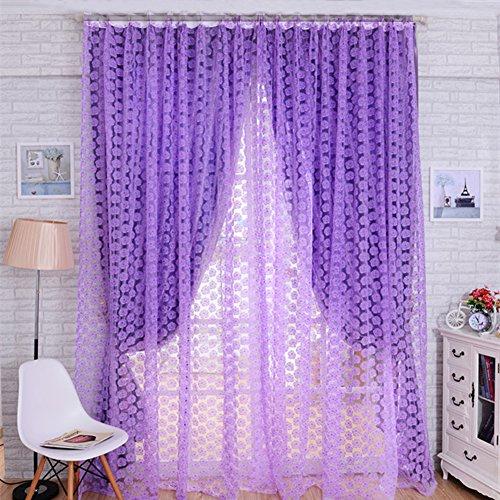 Zhuoshilang tenda mantovana con drappeggio in voile, per porta o finestra, per camera da letto, salotto, cameretta dei bambini, veranda, vetrina purple