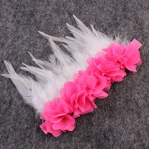 kingko® Baby Mädchen Feder elastisches Kind scherzt Mädchen Haarband Fotografie Stützen Heißes Rosa