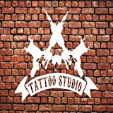 yaoxingfu Tattoo Studio Sign Logo Wall Decal Sticker Decoración del hogar Tienda Poster Vinyl Wall Stickers Window Decals Modern Decor WW-5 79x57 cm