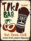 Tiki Bar Eat Drink Chill Metall Zinn Plaque Wand Schild retro Art Pub Bar Club Man Cave