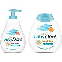 Baby Dove Rich Moisture Hair to Toe Baby Wash, 200 ml & Rich Moisture Nourishing Baby Lotion (200ml) Combo