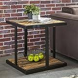 Wohnling Design Beistelltisch BELLARY 61x61x61 cm Massivholz Tisch mit Metallgestell | Industrie Couchtisch Eckig Modern Holztisch mit Metallbeinen | Loft Wohnzimmertisch Modern